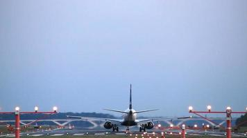 HD footage of a commercial airplane landing to an airport. video