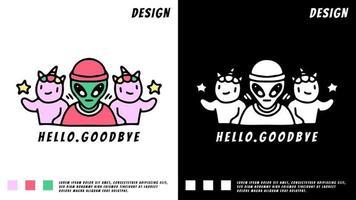 hip hop alien and unicorn, illustration for t-shirt vector
