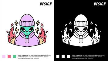 alien with beanie hat and hoodie in fire, illustration for t-shirt vector