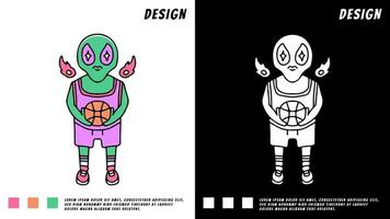 cool alien playing basketball, illustration for t-shirt vector