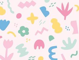 Free-form patterns in cute pastel tones. vector