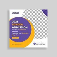 diseño de plantilla de publicación de redes sociales de admisión escolar vector