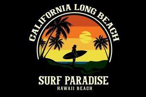 california long beach surf paradise silhouette design vector