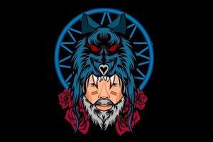Hombre soldado con cabeza de lobo, diseño de ilustraciones vector