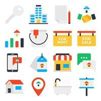 Pack of Real Estate and Property Flat Icons vector