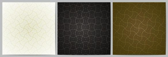 Geometric pattern circle overlapping background with golden lines vector