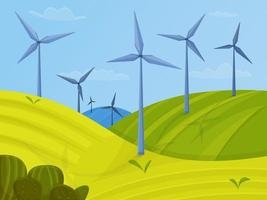 Wind turbines landscape with green fields. Green energy concept vector