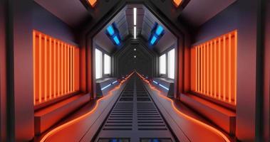 corredor de ficção científica de metal brilhante video