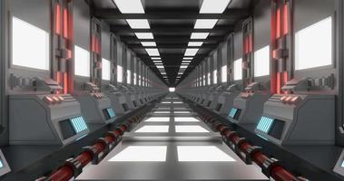 amplo corredor de ficção científica de metal brilhante video