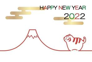 2022, The Year Of The Tiger, Greeting Card With Tiger And Mt. Fuji. vector