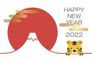 2022, The Year Of The Tiger, Greeting Card With Tiger, And Mt. Fuji. vector