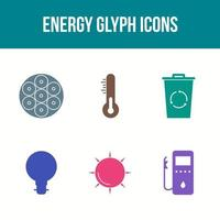 Unique Energy Glyph Vector Icon Set