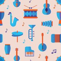 Music tools seamless pattern background vector illustration