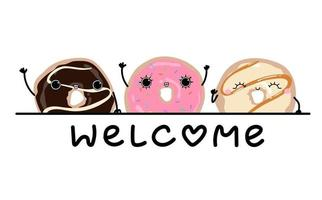 glazed donut welcome text poster background Hand drawn illustration vector
