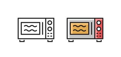 Microwave oven - linear icon. Kitchen household. Simple vector symbol.