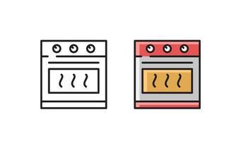 Kitchen stove - linear icon. Simple line vector symbol.