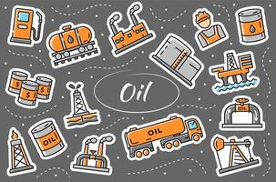 Oil and gas industry - stickers set. Simple vector illustration.