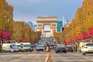 Famous Champs-Elysees and Arc de Triomphe in Paris photo