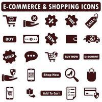 comercio electrónico, conjunto de iconos de compras vector