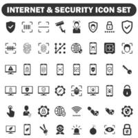 internet and security icon set black series vector