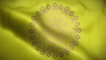 mandala marron sur un drapeau jaune doré video
