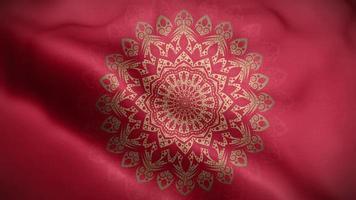 mandala d'or sur un drapeau rouge video