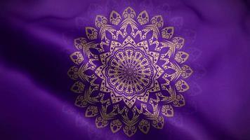 mandala doré sur un drapeau violet video