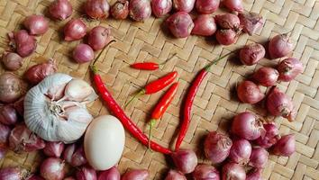 Photo of spices in the form of shallots, garlic, chilies