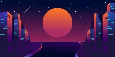 retro futuristic night city with moon or sun , Cityscape of cyber punk vector