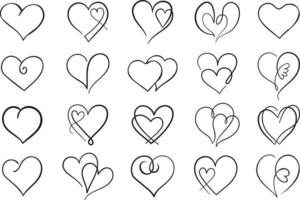 Outline vector heart set. Collection of black thin line heart icons.