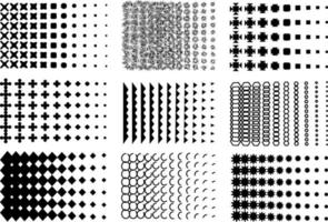 Vector halftone set. Group of black and white