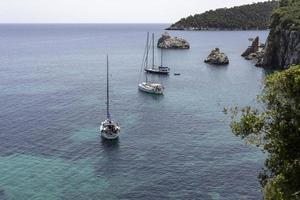Pristine bay view of a greece island in Aegean Sea. photo