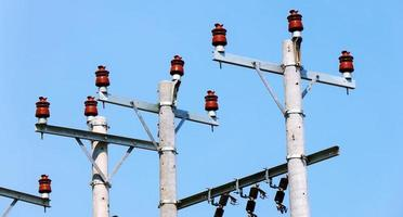 Electricity transmission against blue sky at noon photo