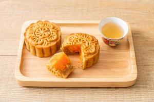 Chinese moon cake durian and egg yolk flavour photo