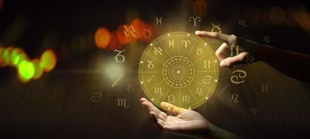 Zodiac sign wheel of fortune. Astrology concept. photo