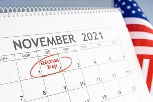 Desk calendar with November 2rd 2021 marked photo