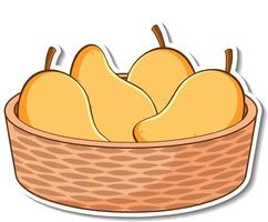 Sticker basket with many mangos vector