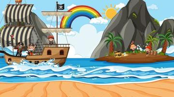 Beach scene at daytime with Pirate kids on the ship vector