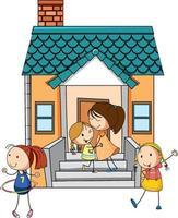 Vista frontal de la mini casa con muchos niños sobre fondo blanco. vector