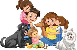 Happy family with their pets on white background vector