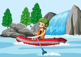 A man rafting in the river scene vector
