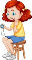 Cute girl sitting on a chair and holding timer vector
