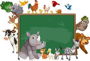 Empty blackboard with various wild animals vector