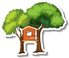 Isolated tree house with wooden ladder vector
