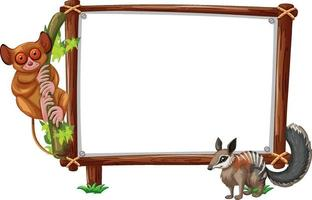 Empty banner with slow loris and squirrel on white background vector