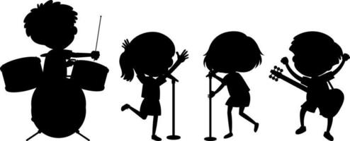 Set of different kids playing musical instruments silhouette vector