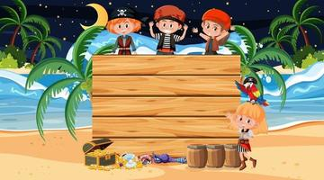 Pirate kids at the beach night scene with an empty wooden banner vector