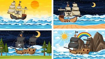 Ocean scenes with Pirate ship at different times vector