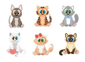 Cartoon cats set. Cute kittens of different breeds with big eyes vector