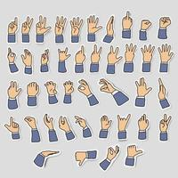 icon sets of businessman hand with gesture signs vector